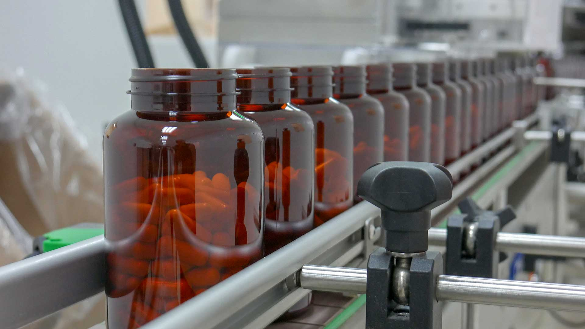 Biopharmaceuticals on a production supply line.