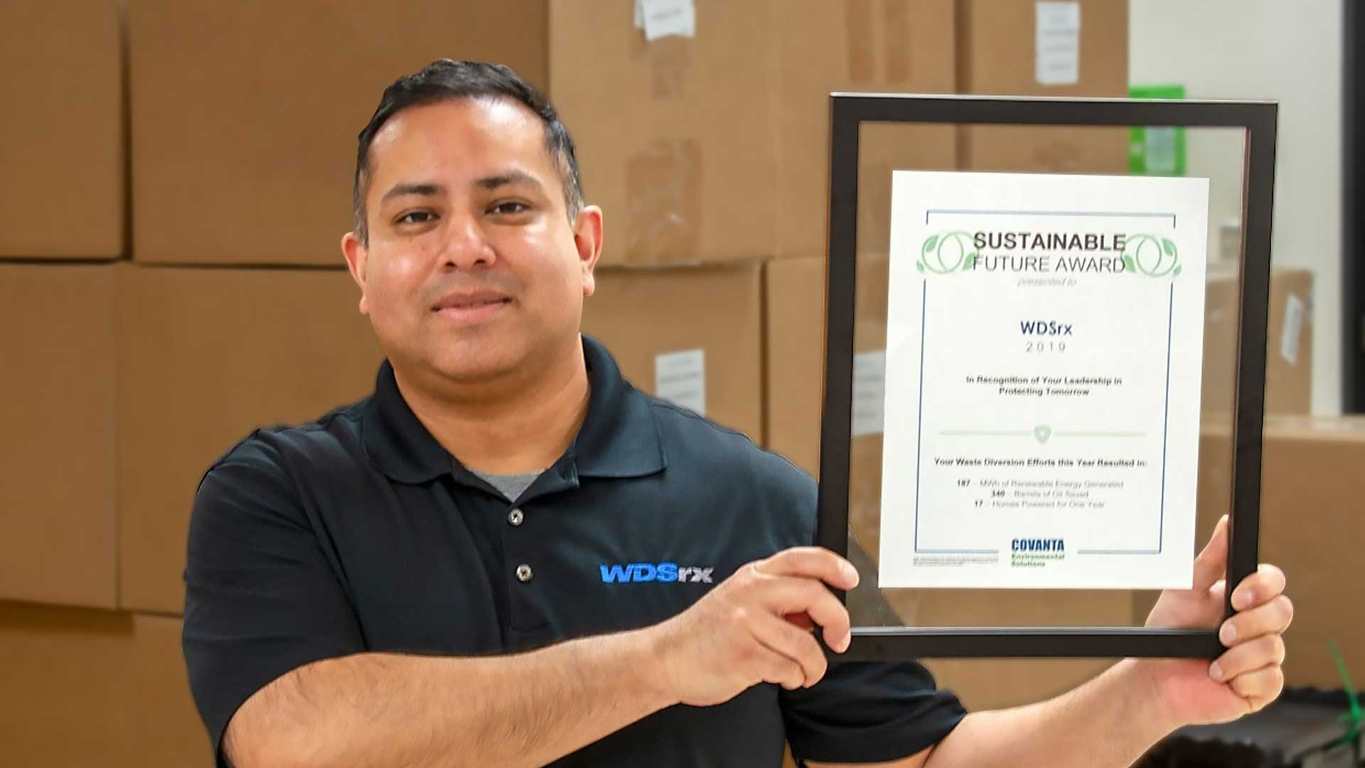 WDSrx received a recognition for their actions implementing sustainability.