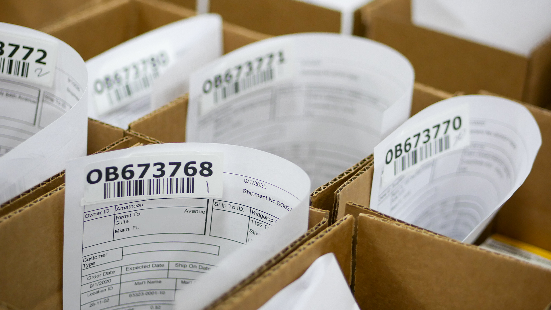small boxes with order slips