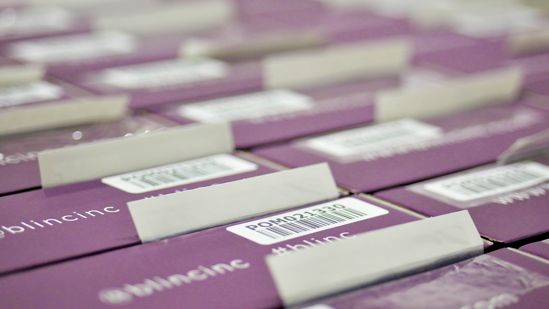 purple boxes ready for shipment